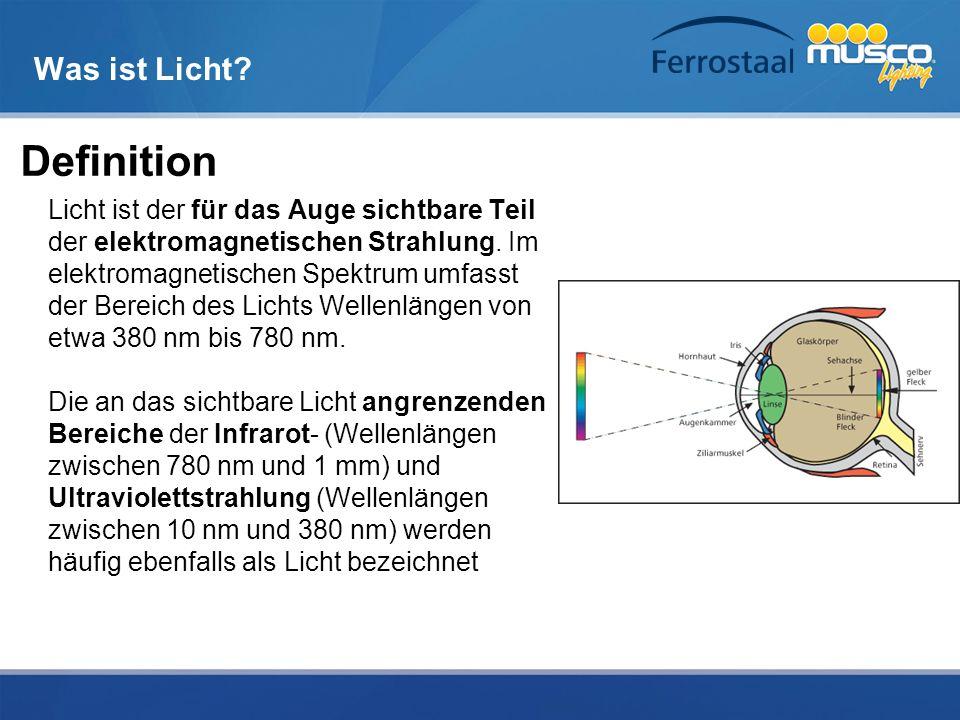 Was ist Licht? Definition Licht ist der für das Auge sichtbare Teil der elektromagnetischen Strahlung. Im elektromagnetischen Spektrum umfasst der Ber
