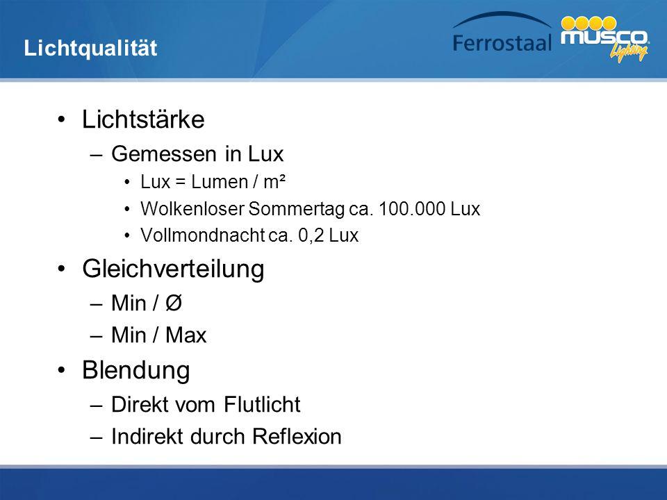 Lichtqualität Lichtstärke –Gemessen in Lux Lux = Lumen / m² Wolkenloser Sommertag ca. 100.000 Lux Vollmondnacht ca. 0,2 Lux Gleichverteilung –Min / Ø