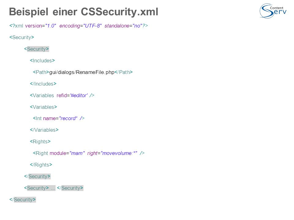 Beispiel einer CSSecurity.xml gui/dialogs/RenameFile.php...