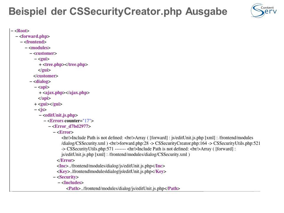 Beispiel der CSSecurityCreator.php Ausgabe