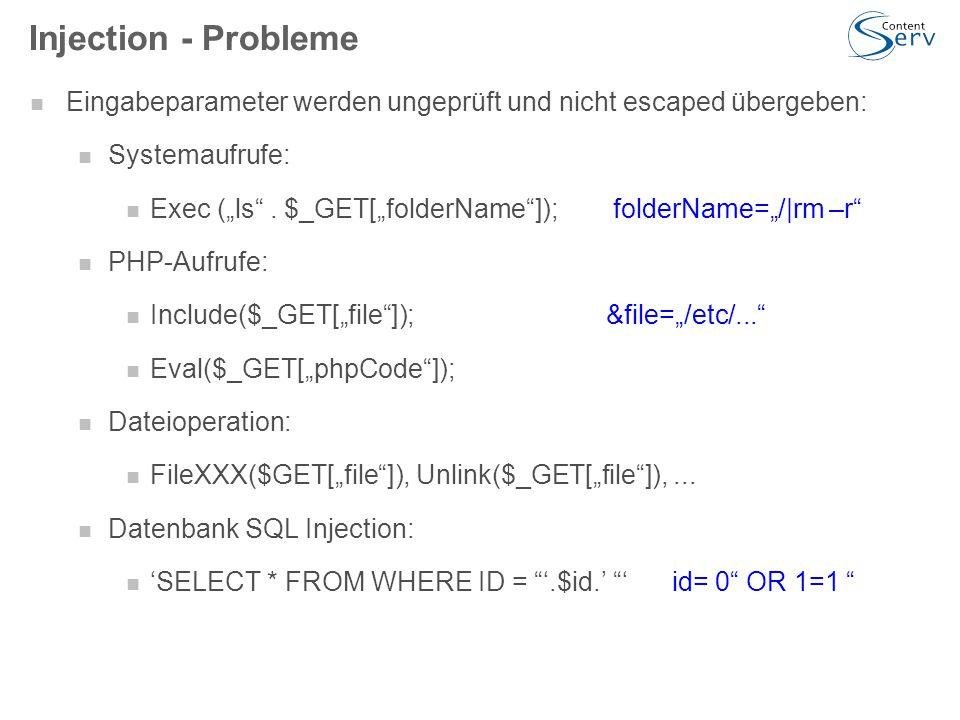 """Injection - Probleme Eingabeparameter werden ungeprüft und nicht escaped übergeben: Systemaufrufe: Exec (""""ls ."""
