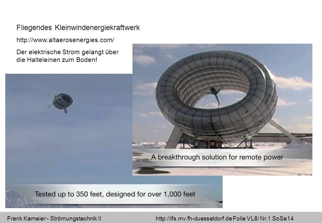 Frank Kameier - Strömungstechnik II http://ifs.mv.fh-duesseldorf.de Folie VL8/ Nr.1 SoSe14 Fliegendes Kleinwindenergiekraftwerk http://www.altaerosenergies.com/ Der elektrische Strom gelangt über die Halteleinen zum Boden!
