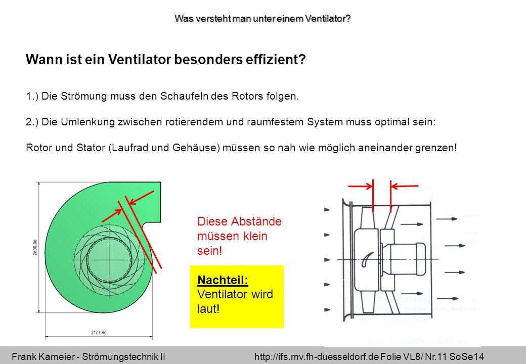Frank Kameier - Strömungstechnik II http://ifs.mv.fh-duesseldorf.de Folie VL8/ Nr.11 SoSe14 Wann ist ein Ventilator besonders effizient.