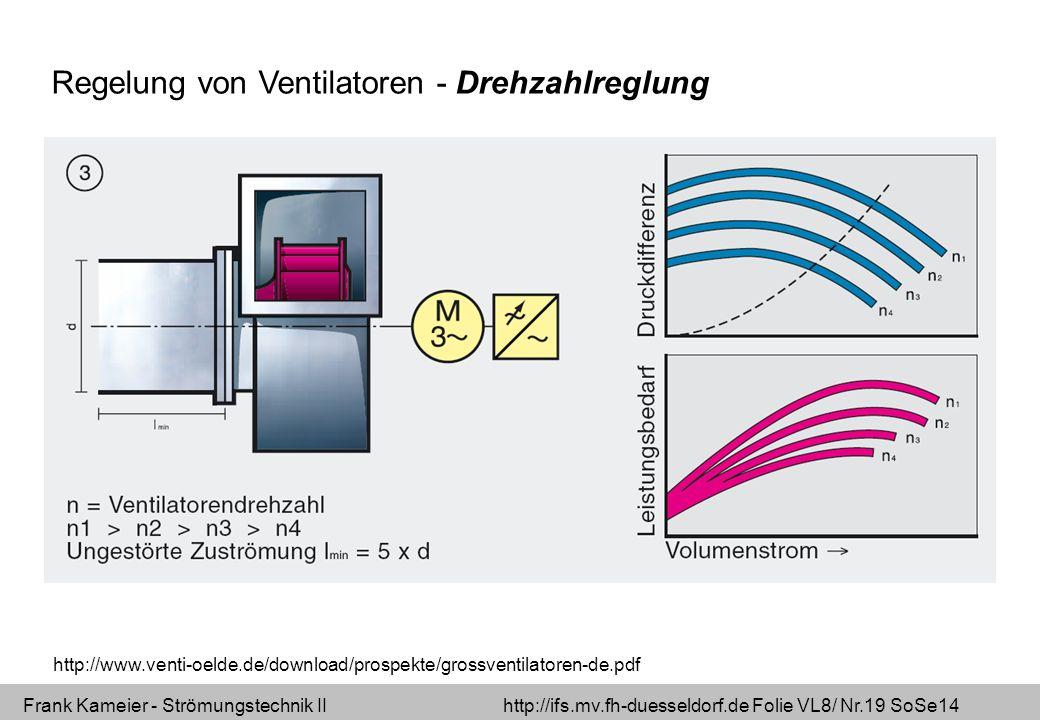 Frank Kameier - Strömungstechnik II http://ifs.mv.fh-duesseldorf.de Folie VL8/ Nr.19 SoSe14 Regelung von Ventilatoren - Drehzahlreglung http://www.venti-oelde.de/download/prospekte/grossventilatoren-de.pdf