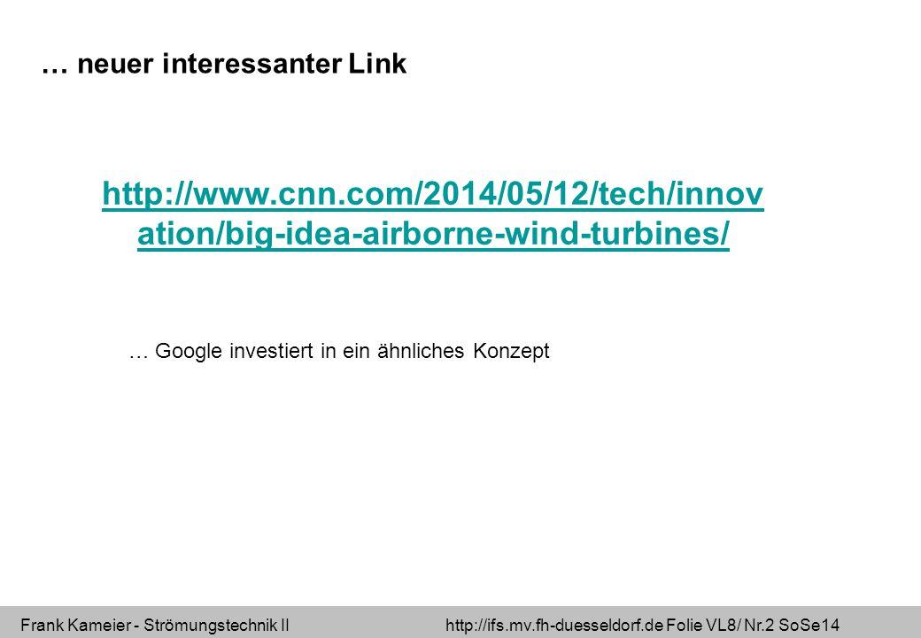 Frank Kameier - Strömungstechnik II http://ifs.mv.fh-duesseldorf.de Folie VL8/ Nr.13 SoSe14 Schallleistungspegel=Schalldruckpegel + durchschallte Fläche (A 0 =1m 2 ) VDI 2081 Geräuscherzeugung und Lärmminderung in Raumlufttechnischen Anlagen Was versteht man unter einem Ventilator.