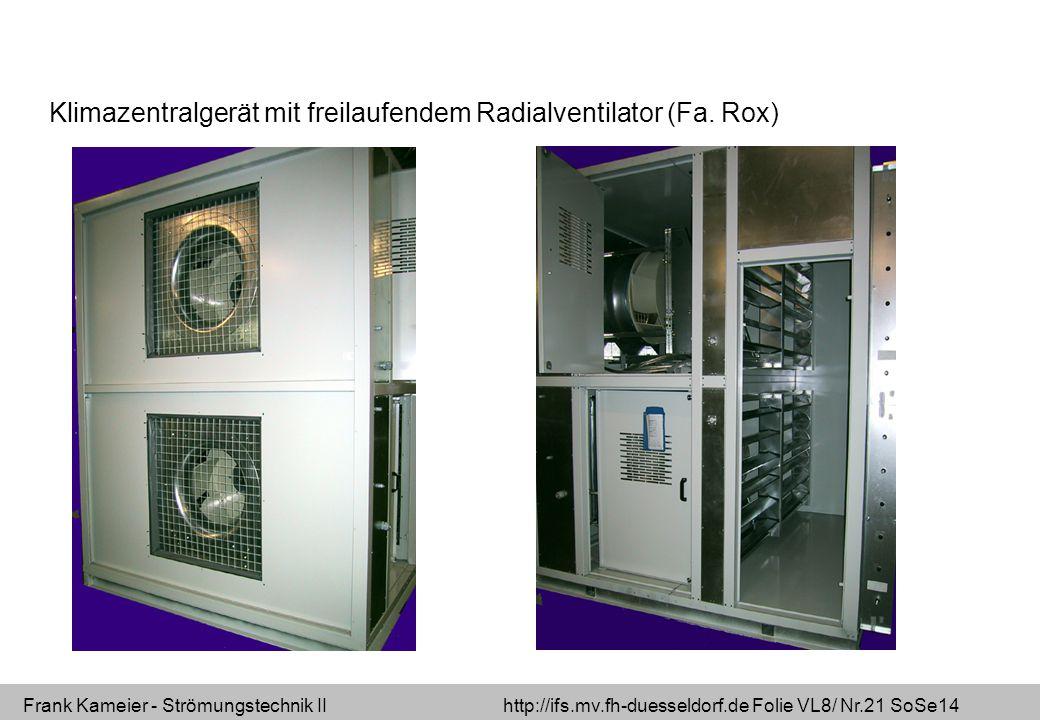 Frank Kameier - Strömungstechnik II http://ifs.mv.fh-duesseldorf.de Folie VL8/ Nr.21 SoSe14 Klimazentralgerät mit freilaufendem Radialventilator (Fa.