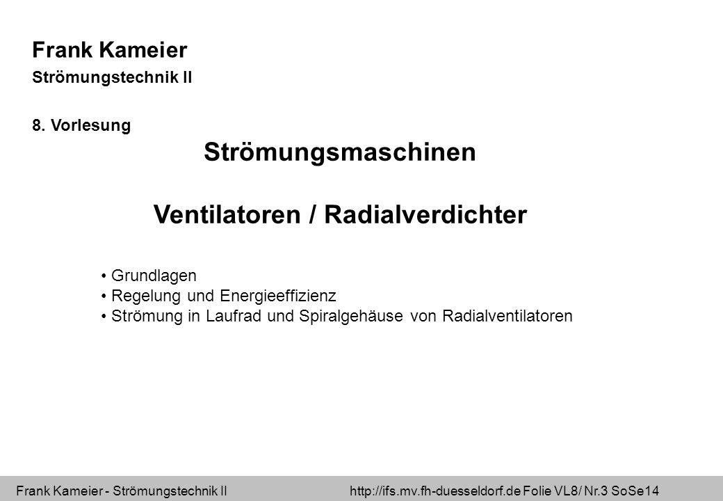 Frank Kameier - Strömungstechnik II http://ifs.mv.fh-duesseldorf.de Folie VL8/ Nr.14 SoSe14 Lüfterkennlinie Wirkungsgrad Schallpegel Im optimalen Betriebspunkt sind  der Wirkungsgrad maximal  der Schallpegel minimal Kennlinie Wirkungsgrad Schalldruckpegel η LwLw ΔpΔp optimaler Betriebspunkt V