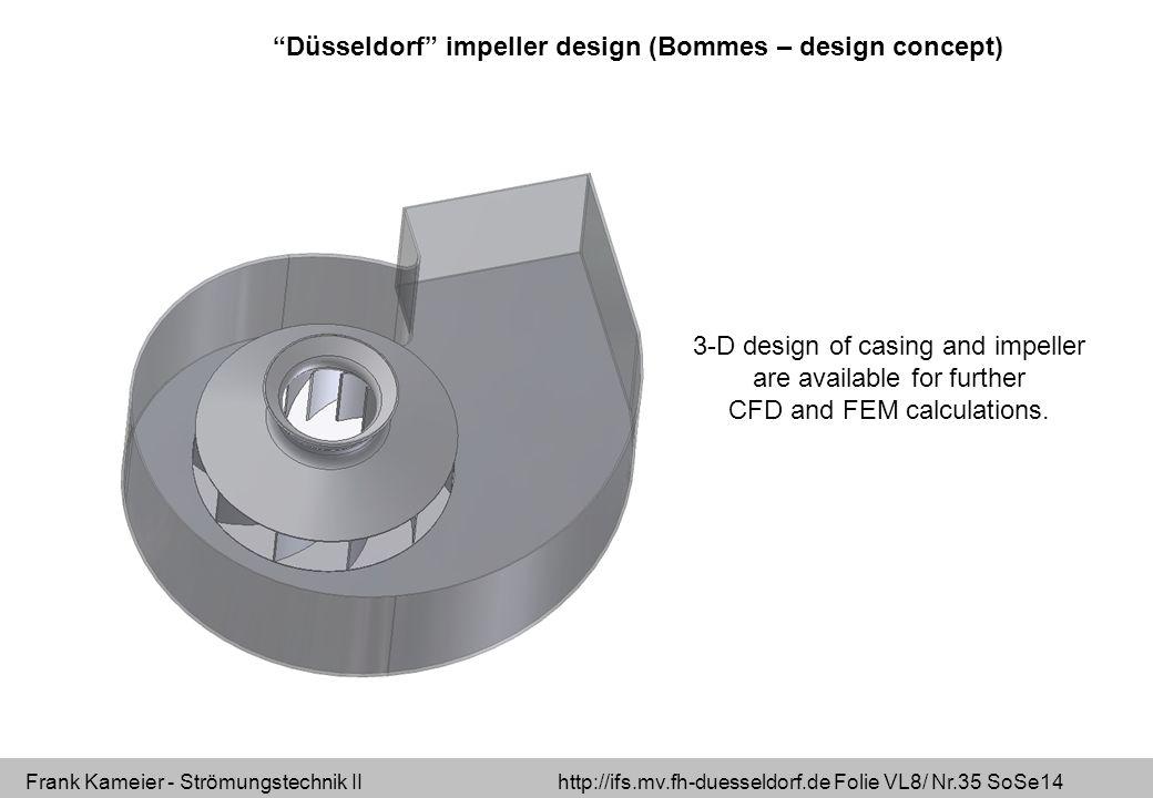 Frank Kameier - Strömungstechnik II http://ifs.mv.fh-duesseldorf.de Folie VL8/ Nr.35 SoSe14 Düsseldorf impeller design (Bommes – design concept) 3-D design of casing and impeller are available for further CFD and FEM calculations.