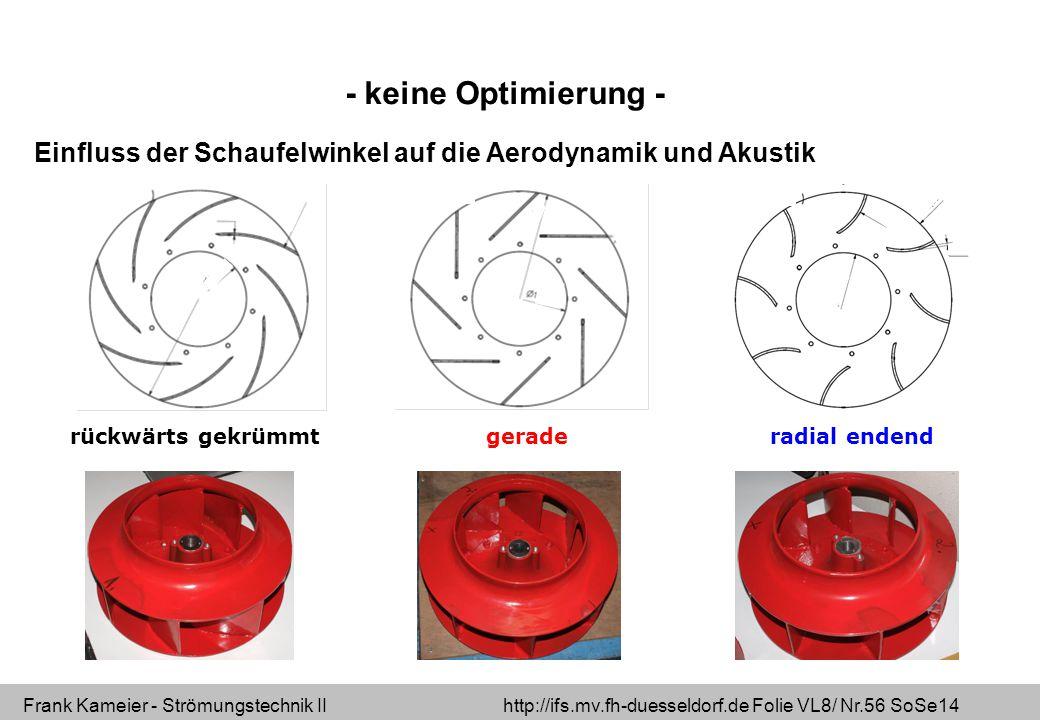 Frank Kameier - Strömungstechnik II http://ifs.mv.fh-duesseldorf.de Folie VL8/ Nr.56 SoSe14 rückwärts gekrümmtgeraderadial endend Einfluss der Schaufelwinkel auf die Aerodynamik und Akustik - keine Optimierung -