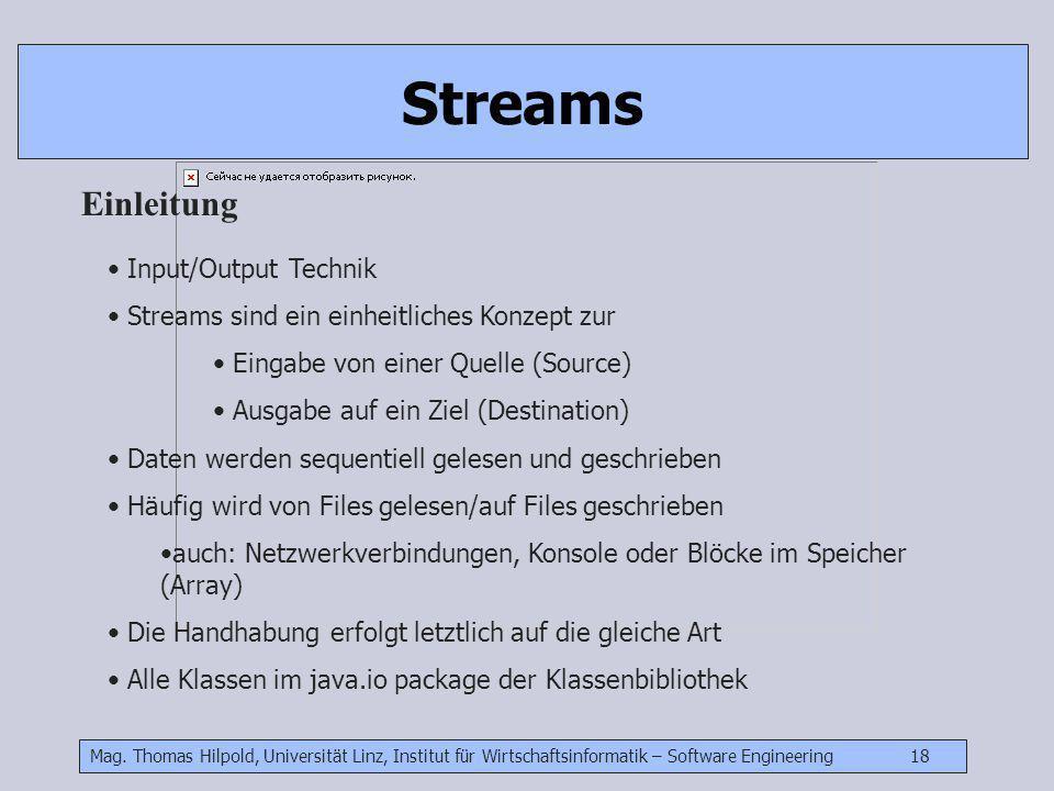 Mag. Thomas Hilpold, Universität Linz, Institut für Wirtschaftsinformatik – Software Engineering 18 Streams Einleitung Input/Output Technik Streams si