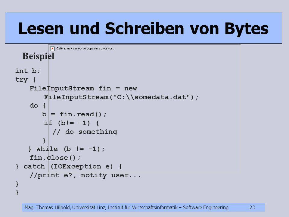 Mag. Thomas Hilpold, Universität Linz, Institut für Wirtschaftsinformatik – Software Engineering 23 Lesen und Schreiben von Bytes Beispiel int b; try