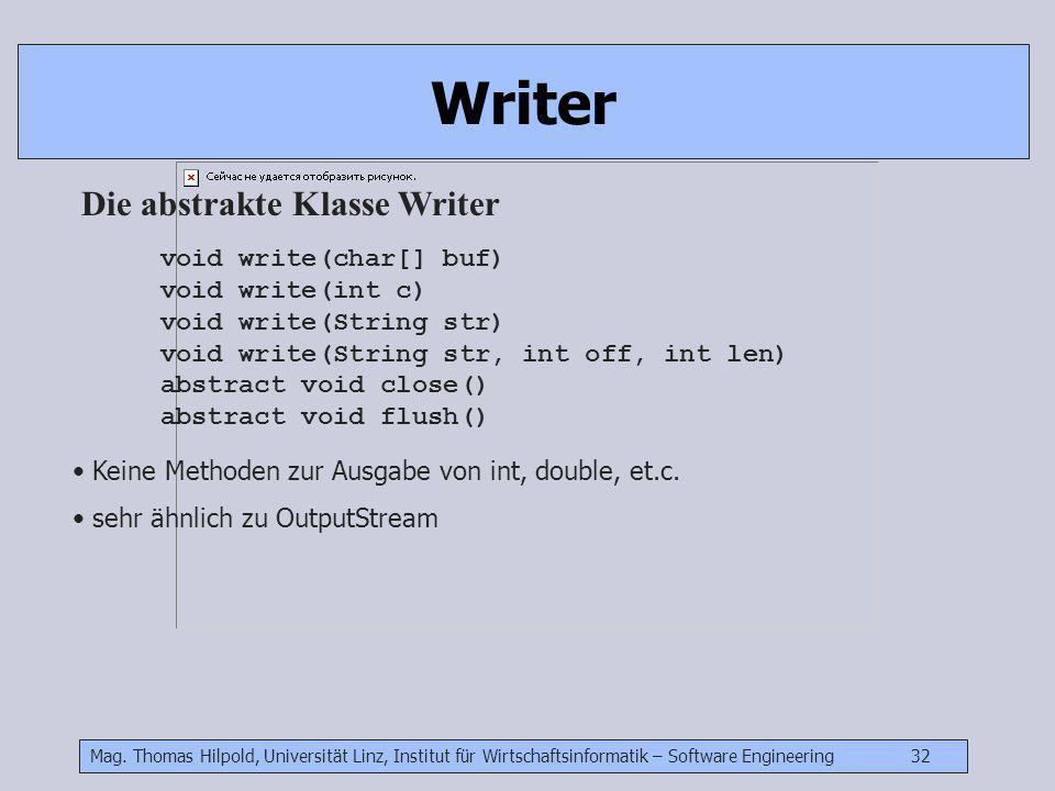 Mag. Thomas Hilpold, Universität Linz, Institut für Wirtschaftsinformatik – Software Engineering 32 Writer void write(char[] buf) void write(int c) vo