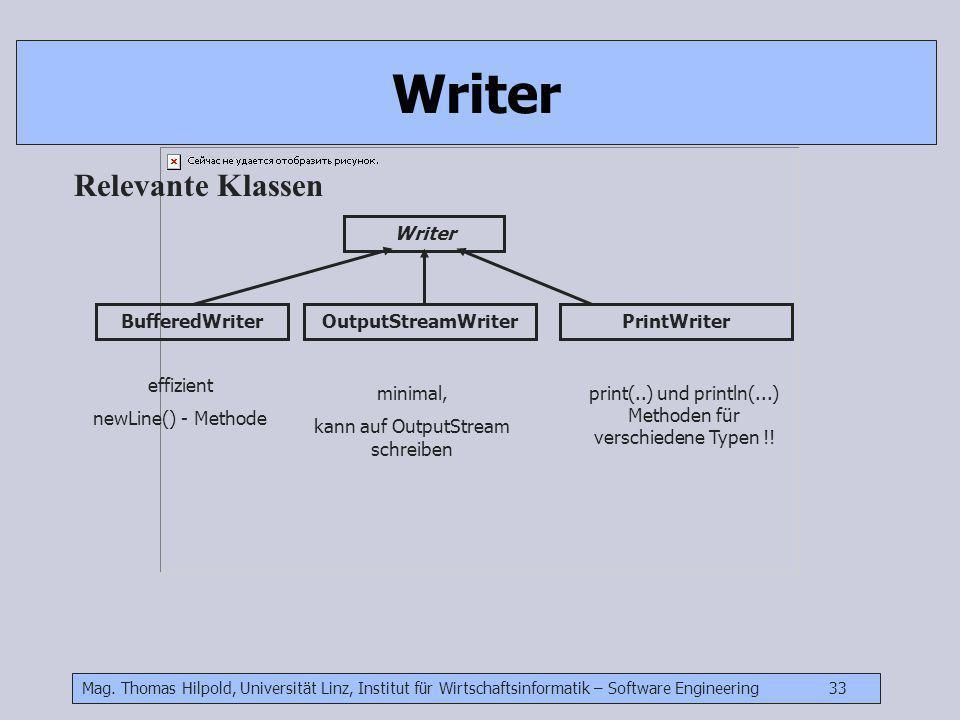 Mag. Thomas Hilpold, Universität Linz, Institut für Wirtschaftsinformatik – Software Engineering 33 Writer Relevante Klassen BufferedWriter Writer Out