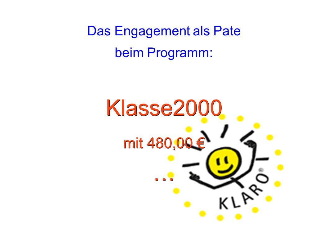 Das Engagement als Pate beim Programm:Klasse2000 mit 480,00 € …