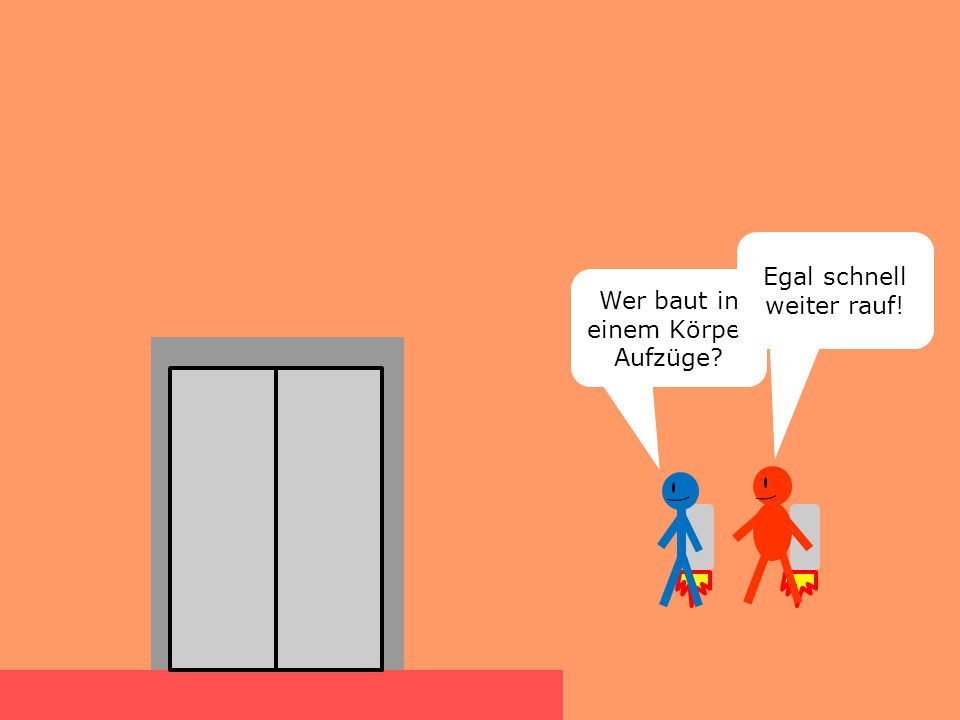 Wer baut in einem Körper Aufzüge? Egal schnell weiter rauf!