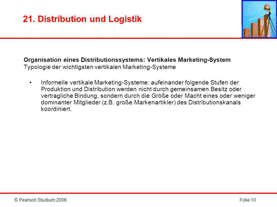 © Pearson Studium 2006Folie 10 21. Distribution und Logistik Organisation eines Distributionssystems: Vertikales Marketing-System Typologie der wichti