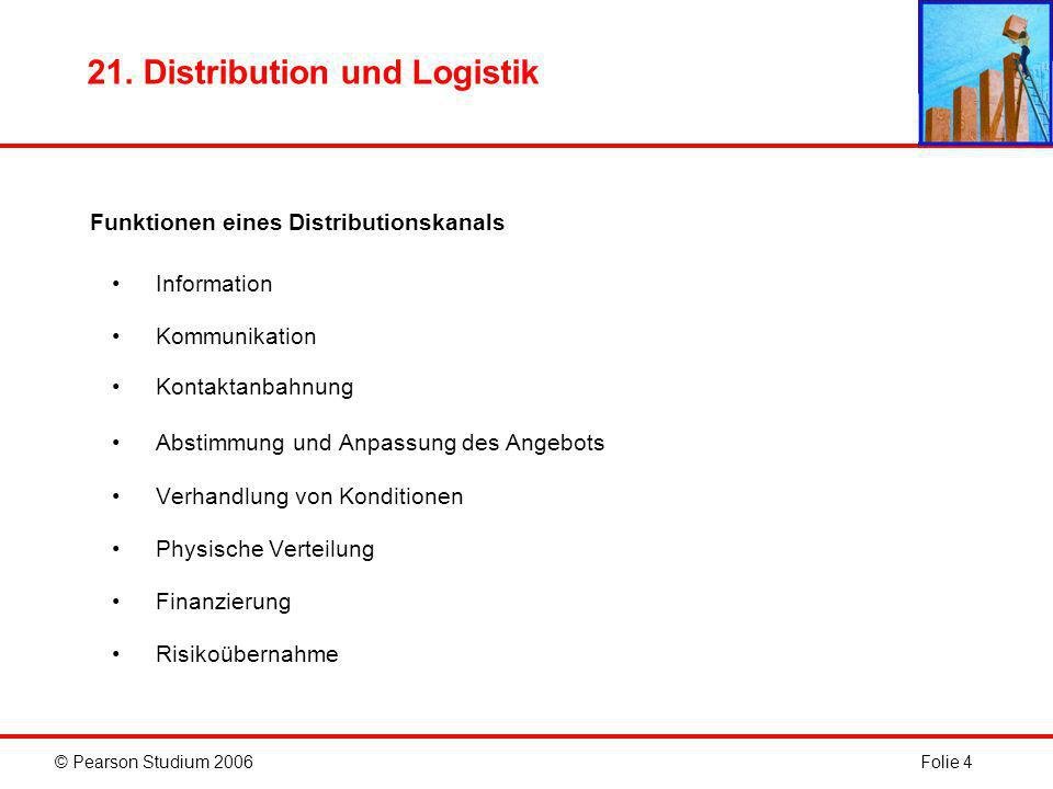 © Pearson Studium 2006Folie 4 21. Distribution und Logistik Funktionen eines Distributionskanals Information Kommunikation Kontaktanbahnung Abstimmung