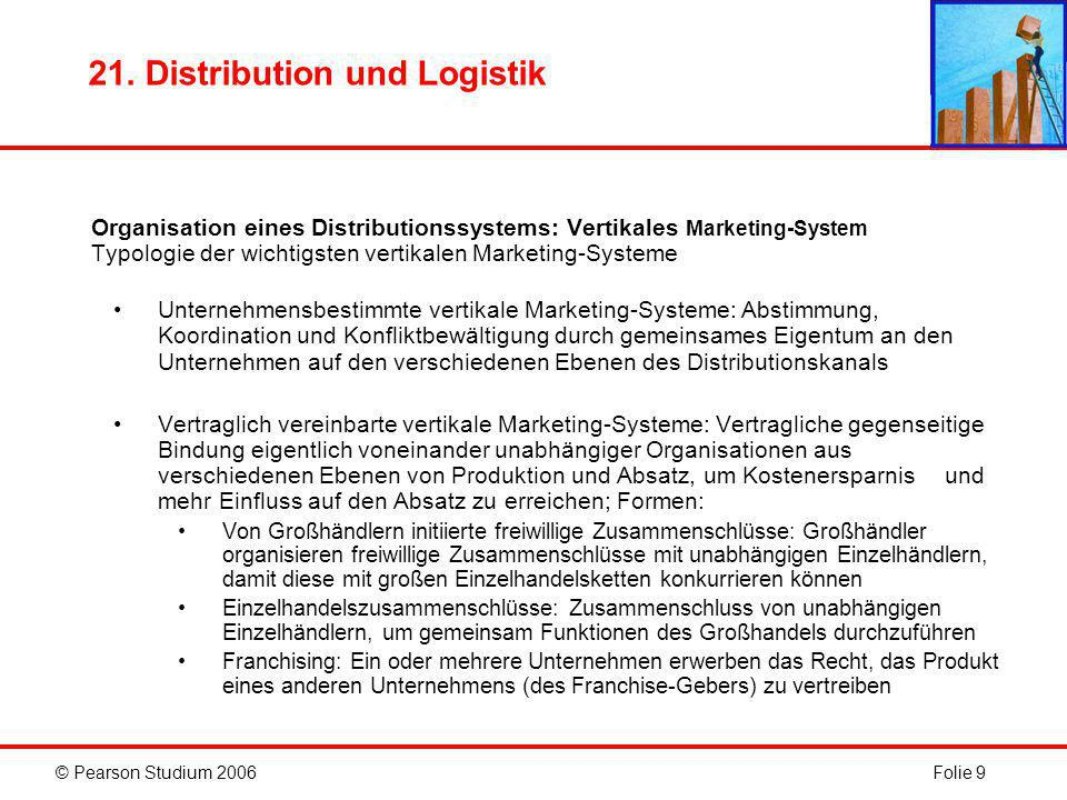 © Pearson Studium 2006Folie 9 21. Distribution und Logistik Organisation eines Distributionssystems: Vertikales Marketing-System Typologie der wichtig