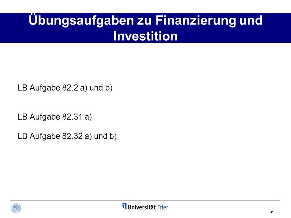 31 Übungsaufgaben zu Finanzierung und Investition LB Aufgabe 82.2 a) und b) LB Aufgabe 82.31 a) LB Aufgabe 82.32 a) und b)