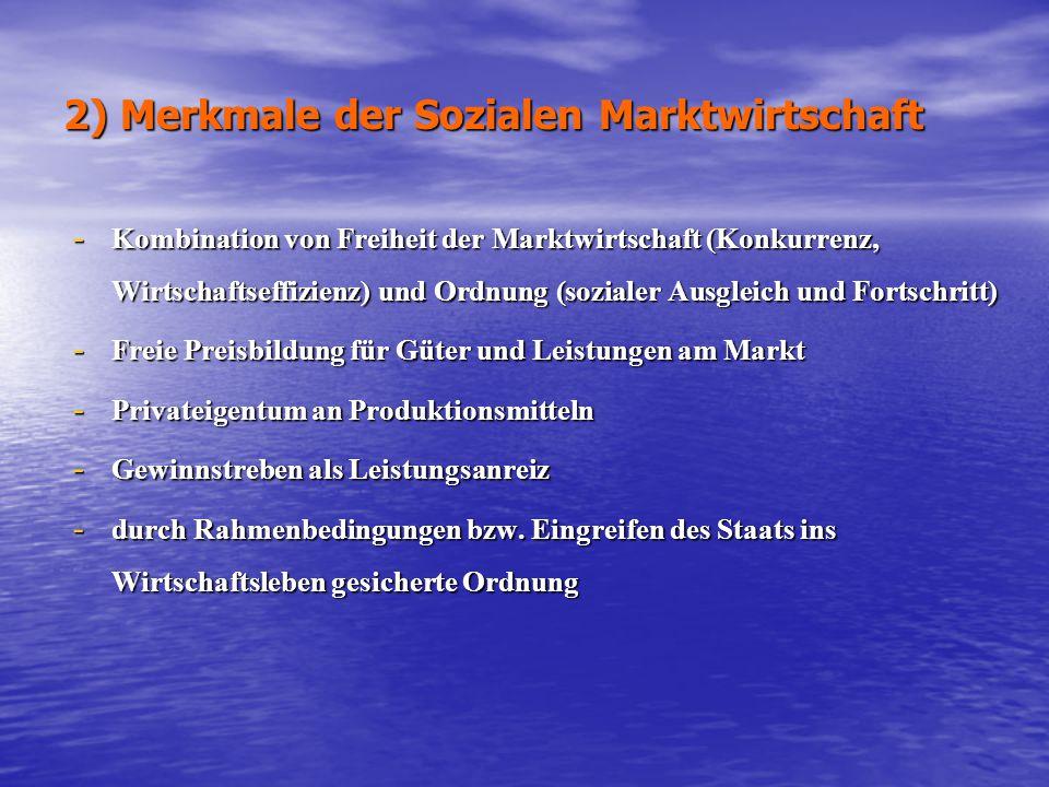 2) Merkmale der Sozialen Marktwirtschaft - Kombination von Freiheit der Marktwirtschaft (Konkurrenz, Wirtschaftseffizienz) und Ordnung (sozialer Ausgl