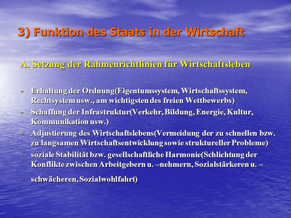 3) Funktion des Staats in der Wirtschaft A. Setzung der Rahmenrichtlinien für Wirtschaftsleben - Erhaltung der Ordnung(Eigentumssystem, Wirtschaftssys