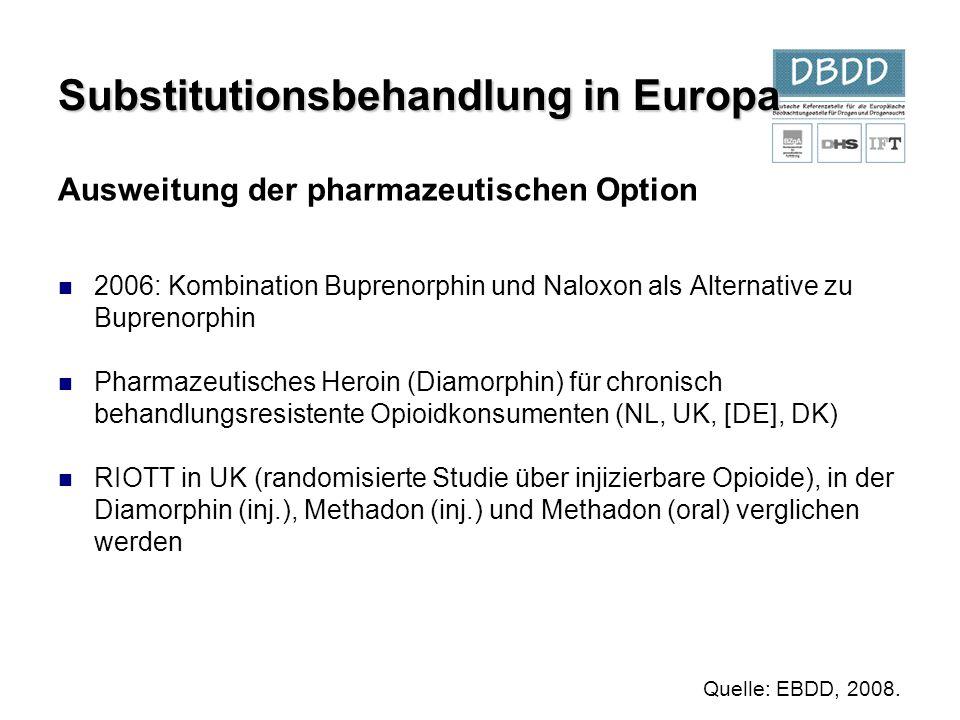 Ausweitung der pharmazeutischen Option 2006: Kombination Buprenorphin und Naloxon als Alternative zu Buprenorphin Pharmazeutisches Heroin (Diamorphin)