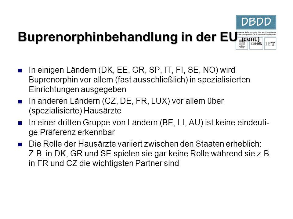 In einigen Ländern (DK, EE, GR, SP, IT, FI, SE, NO) wird Buprenorphin vor allem (fast ausschließlich) in spezialisierten Einrichtungen ausgegeben In a