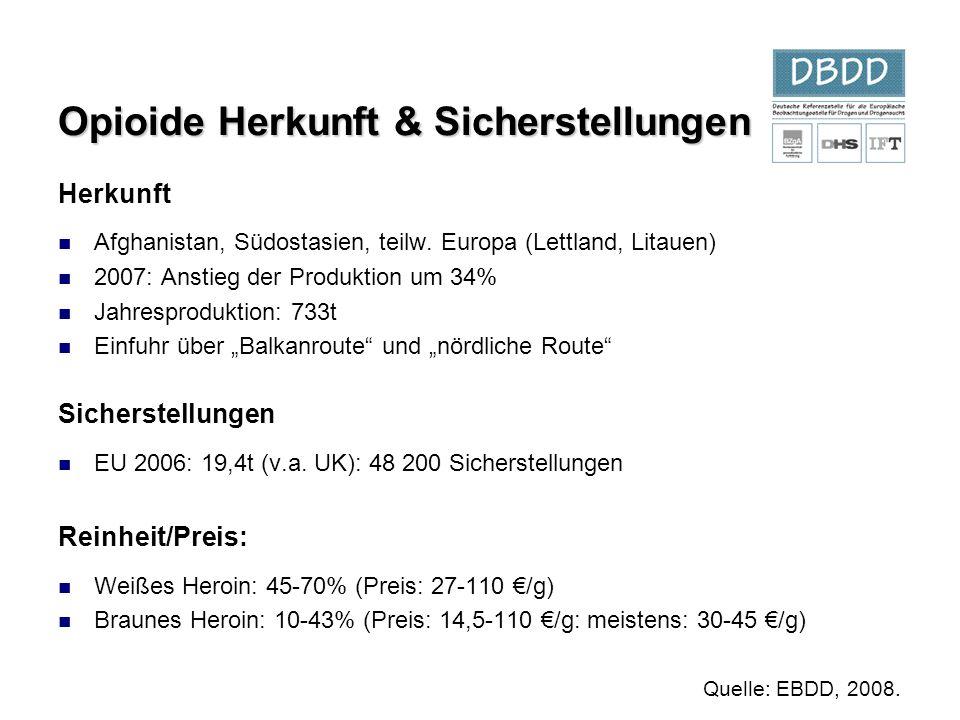 Opioide Herkunft & Sicherstellungen Herkunft Afghanistan, Südostasien, teilw. Europa (Lettland, Litauen) 2007: Anstieg der Produktion um 34% Jahrespro
