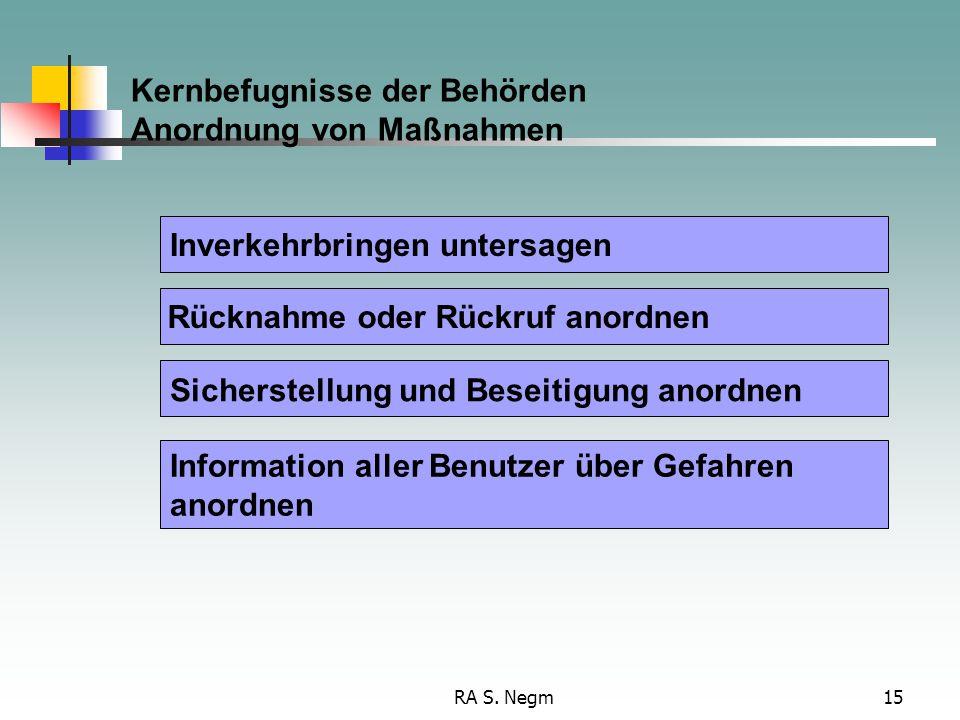 RA S. Negm15 Kernbefugnisse der Behörden Anordnung von Maßnahmen Information aller Benutzer über Gefahren anordnen Inverkehrbringen untersagen Rücknah