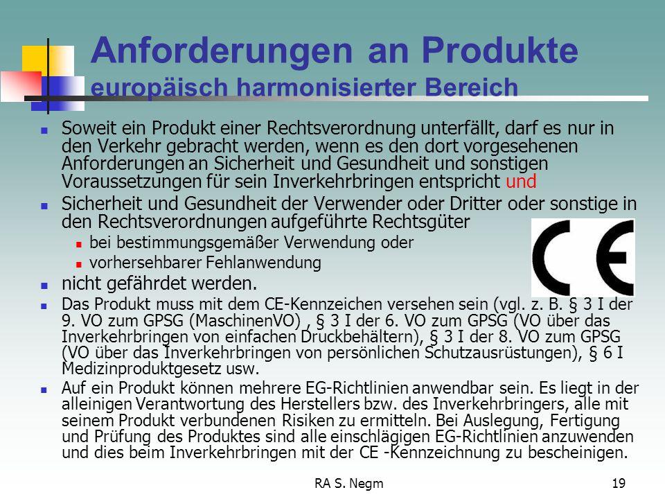 RA S. Negm19 Anforderungen an Produkte europäisch harmonisierter Bereich Soweit ein Produkt einer Rechtsverordnung unterfällt, darf es nur in den Verk