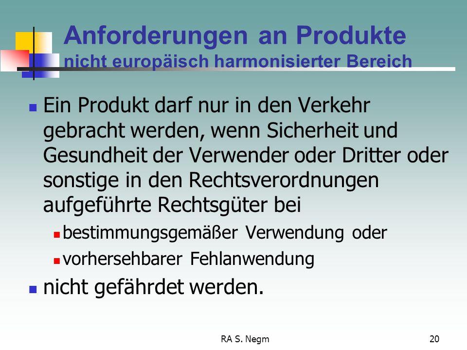 RA S. Negm20 Anforderungen an Produkte nicht europäisch harmonisierter Bereich Ein Produkt darf nur in den Verkehr gebracht werden, wenn Sicherheit un