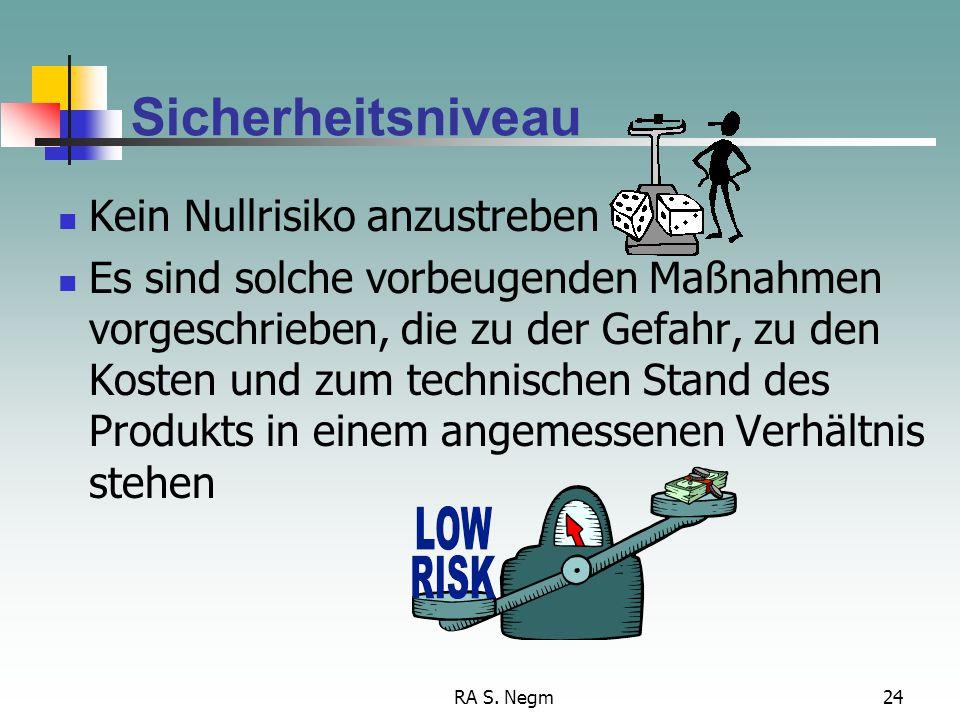 RA S. Negm24 Sicherheitsniveau Kein Nullrisiko anzustreben Es sind solche vorbeugenden Maßnahmen vorgeschrieben, die zu der Gefahr, zu den Kosten und