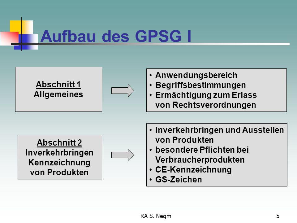 RA S. Negm5 Aufbau des GPSG I Anwendungsbereich Begriffsbestimmungen Ermächtigung zum Erlass von Rechtsverordnungen Abschnitt 1 Allgemeines Inverkehrb
