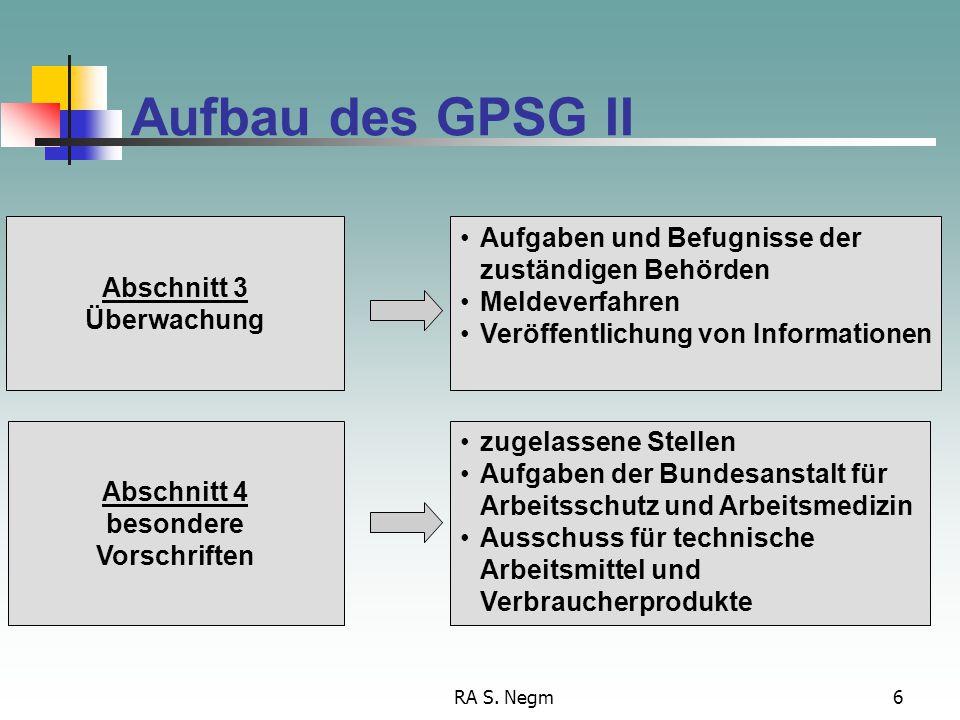 RA S. Negm6 Aufbau des GPSG II Aufgaben und Befugnisse der zuständigen Behörden Meldeverfahren Veröffentlichung von Informationen Abschnitt 3 Überwach