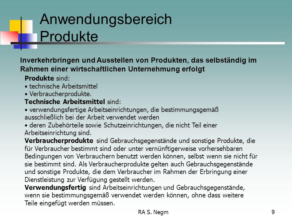RA S. Negm9 Anwendungsbereich Produkte Inverkehrbringen und Ausstellen von Produkten, das selbständig im Rahmen einer wirtschaftlichen Unternehmung er