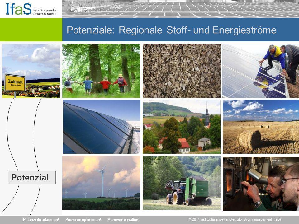 © 2014 Institut für angewandtes Stoffstrommanagement (IfaS) Potenziale erkennen!Prozesse optimieren!Mehrwert schaffen! Potenziale: Regionale Stoff- un