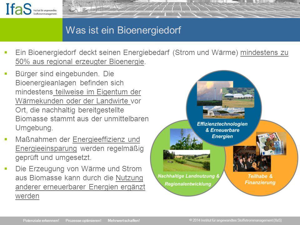 © 2014 Institut für angewandtes Stoffstrommanagement (IfaS) Potenziale erkennen!Prozesse optimieren!Mehrwert schaffen! Was ist ein Bioenergiedorf  Ei