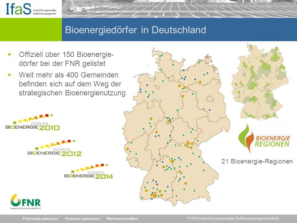 © 2014 Institut für angewandtes Stoffstrommanagement (IfaS) Potenziale erkennen!Prozesse optimieren!Mehrwert schaffen! Bioenergiedörfer in Deutschland