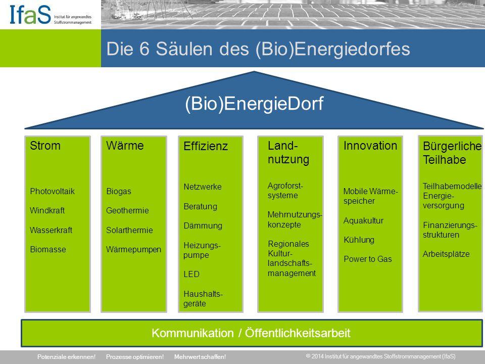 © 2014 Institut für angewandtes Stoffstrommanagement (IfaS) Potenziale erkennen!Prozesse optimieren!Mehrwert schaffen! Die 6 Säulen des (Bio)Energiedo