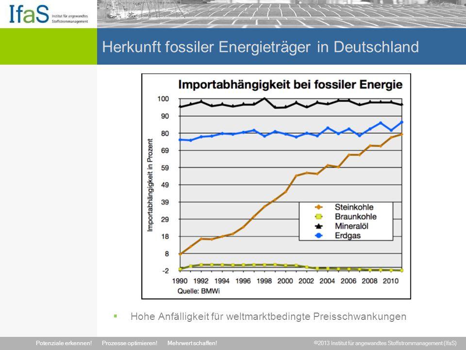 ©2013 Institut für angewandtes Stoffstrommanagement (IfaS) Potenziale erkennen!Prozesse optimieren!Mehrwert schaffen! Herkunft fossiler Energieträger
