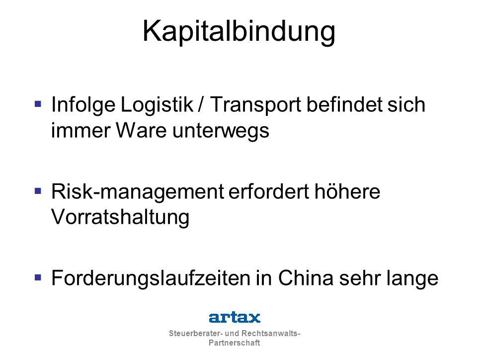 Steuerberater- und Rechtsanwalts- Partnerschaft Kapitalbindung  Infolge Logistik / Transport befindet sich immer Ware unterwegs  Risk-management erfordert höhere Vorratshaltung  Forderungslaufzeiten in China sehr lange