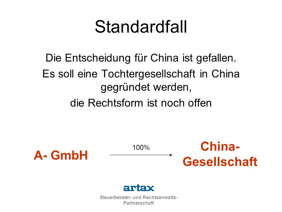 Steuerberater- und Rechtsanwalts- Partnerschaft Standardfall Die Entscheidung für China ist gefallen. Es soll eine Tochtergesellschaft in China gegrün