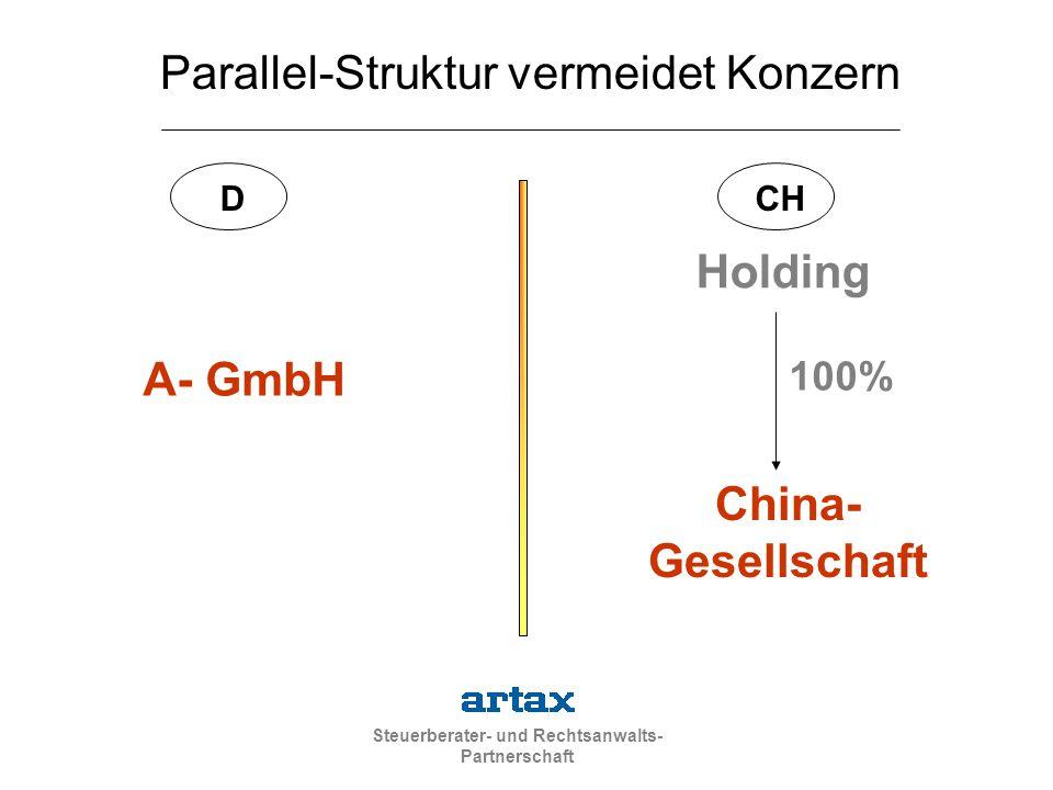 Steuerberater- und Rechtsanwalts- Partnerschaft A- GmbH China- Gesellschaft Holding 100% DCH Parallel-Struktur vermeidet Konzern