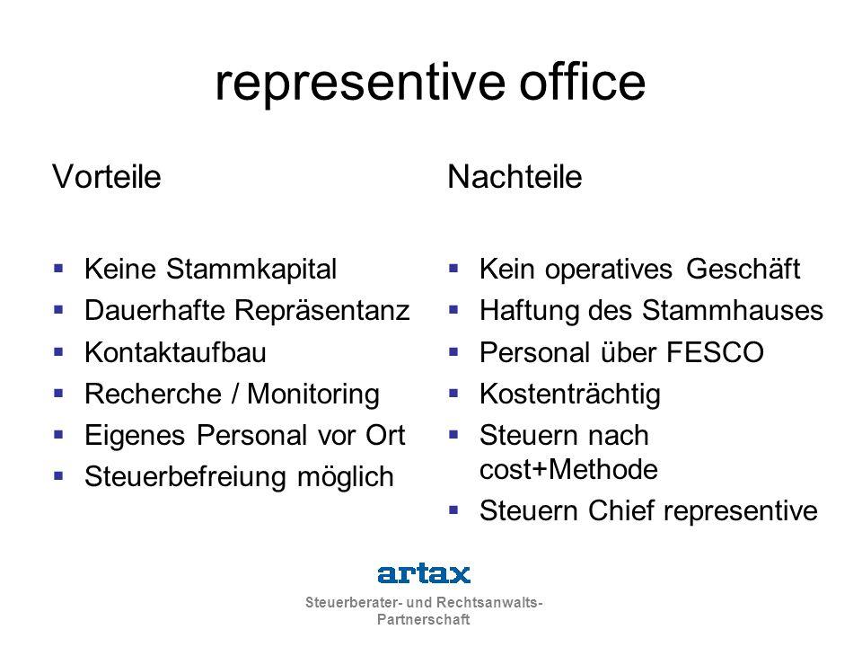 Steuerberater- und Rechtsanwalts- Partnerschaft representive office Vorteile  Keine Stammkapital  Dauerhafte Repräsentanz  Kontaktaufbau  Recherch