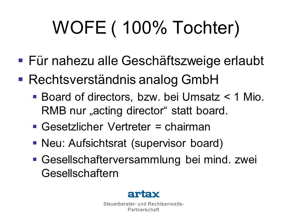 Steuerberater- und Rechtsanwalts- Partnerschaft WOFE ( 100% Tochter)  Für nahezu alle Geschäftszweige erlaubt  Rechtsverständnis analog GmbH  Board
