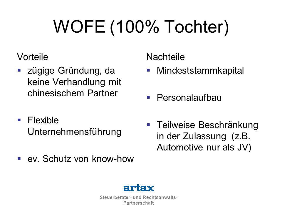 Steuerberater- und Rechtsanwalts- Partnerschaft WOFE (100% Tochter) Vorteile  zügige Gründung, da keine Verhandlung mit chinesischem Partner  Flexible Unternehmensführung  ev.