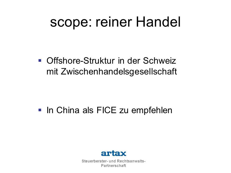 Steuerberater- und Rechtsanwalts- Partnerschaft scope: reiner Handel  Offshore-Struktur in der Schweiz mit Zwischenhandelsgesellschaft  In China als FICE zu empfehlen