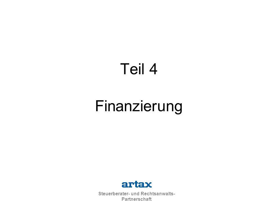 Steuerberater- und Rechtsanwalts- Partnerschaft Teil 4 Finanzierung