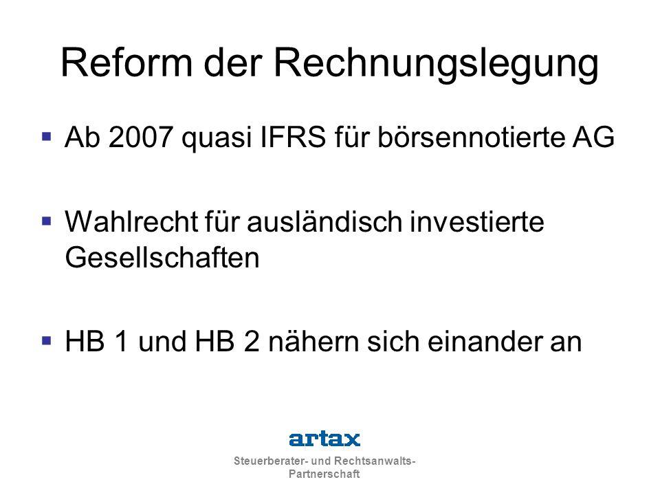 Steuerberater- und Rechtsanwalts- Partnerschaft Reform der Rechnungslegung  Ab 2007 quasi IFRS für börsennotierte AG  Wahlrecht für ausländisch investierte Gesellschaften  HB 1 und HB 2 nähern sich einander an