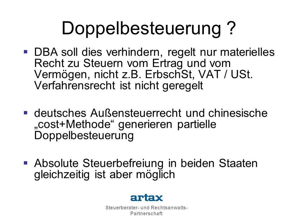 Steuerberater- und Rechtsanwalts- Partnerschaft Doppelbesteuerung ?  DBA soll dies verhindern, regelt nur materielles Recht zu Steuern vom Ertrag und